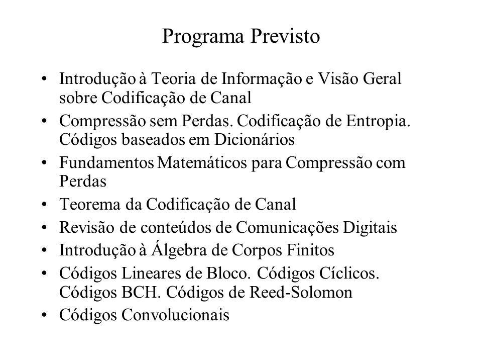 Programa Previsto Introdução à Teoria de Informação e Visão Geral sobre Codificação de Canal Compressão sem Perdas.