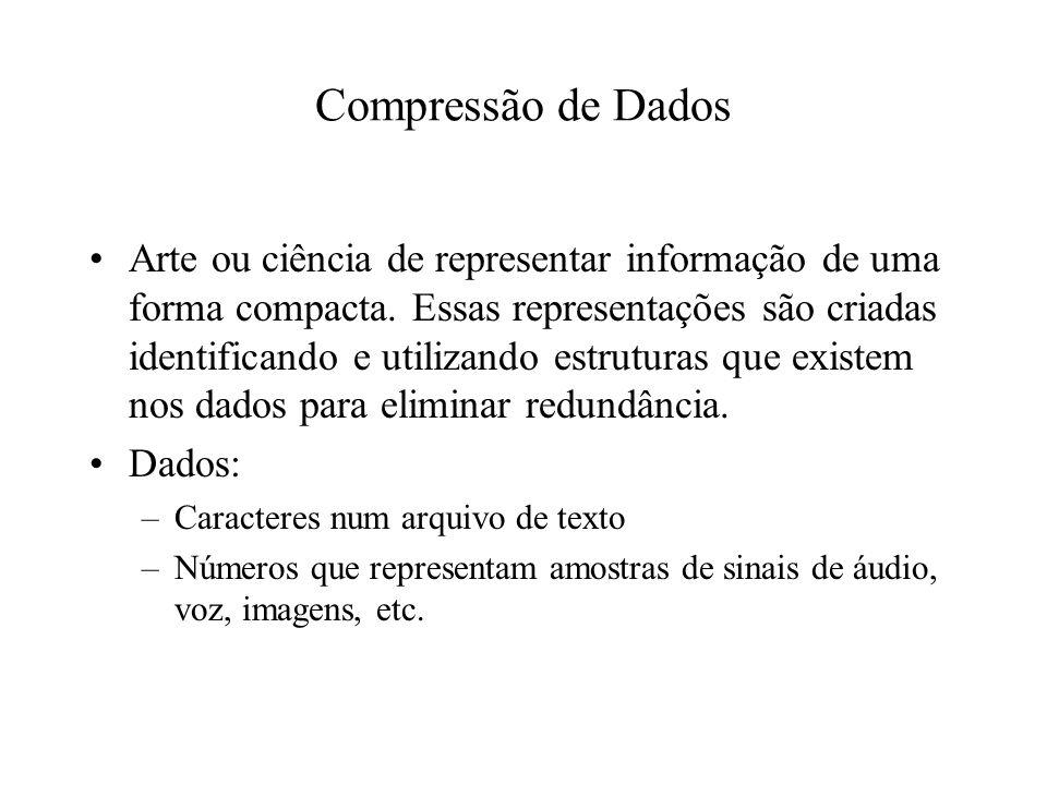Compressão de Dados Arte ou ciência de representar informação de uma forma compacta.