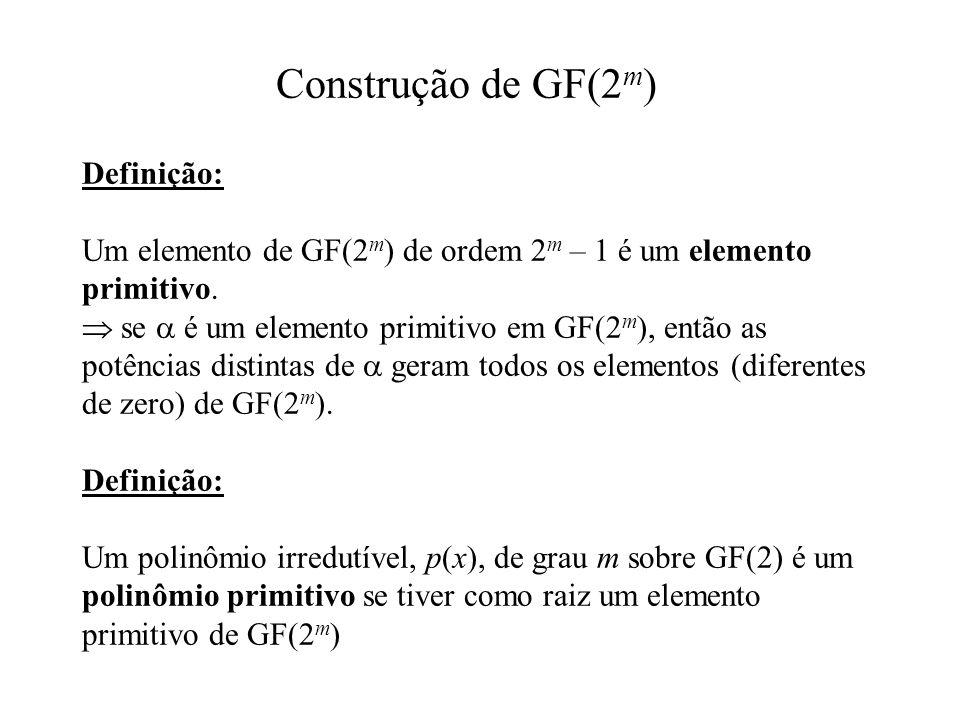 Definição: Um elemento de GF(2 m ) de ordem 2 m – 1 é um elemento primitivo. se é um elemento primitivo em GF(2 m ), então as potências distintas de g