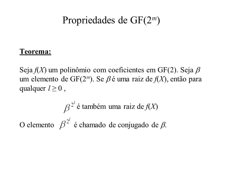 Teorema: Seja f(X) um polinômio com coeficientes em GF(2). Seja um elemento de GF(2 m ). Se é uma raiz de f(X), então para qualquer l 0, é também uma