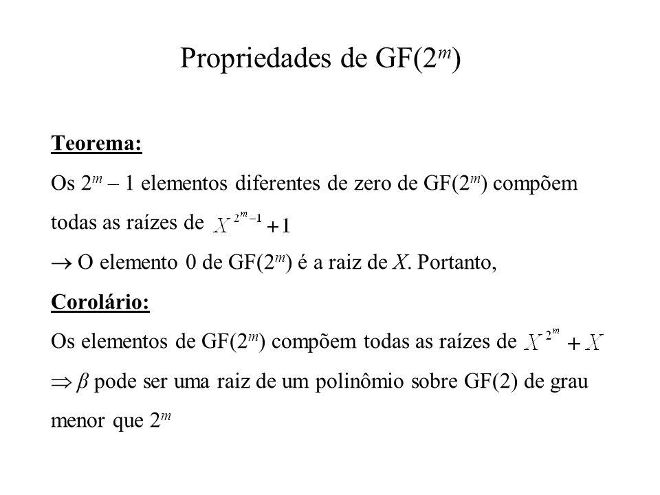 Teorema: Os 2 m – 1 elementos diferentes de zero de GF(2 m ) compõem todas as raízes de O elemento 0 de GF(2 m ) é a raiz de X. Portanto, Corolário: O