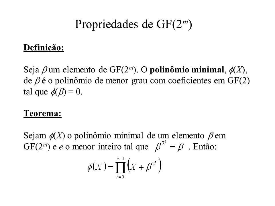 Definição: Seja um elemento de GF(2 m ). O polinômio minimal, (X), de é o polinômio de menor grau com coeficientes em GF(2) tal que ( ) = 0. Teorema: