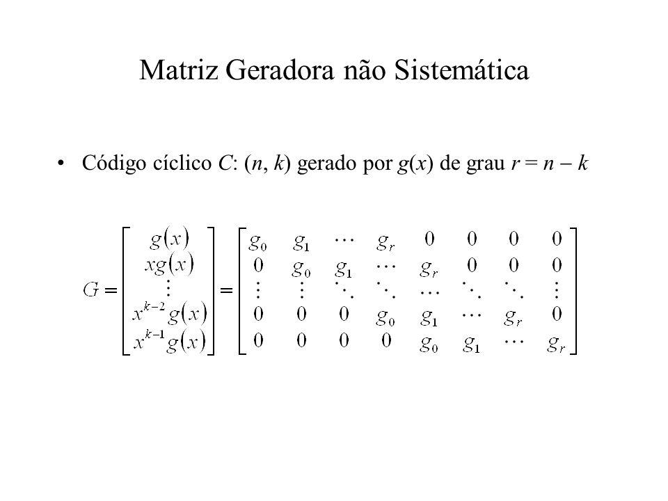 Matriz Geradora não Sistemática Código cíclico C: (n, k) gerado por g(x) de grau r = n k