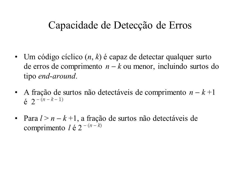 Um código cíclico (n, k) é capaz de detectar qualquer surto de erros de comprimento n k ou menor, incluindo surtos do tipo end-around. A fração de sur