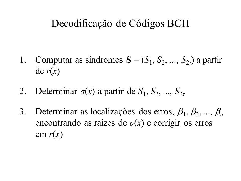 Decodificação de Códigos BCH 1.Computar as síndromes S = (S 1, S 2,..., S 2t ) a partir de r(x) 2.Determinar σ(x) a partir de S 1, S 2,..., S 2t 3.Det