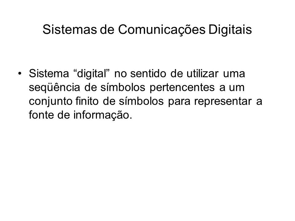 Sistemas de Comunicações Digitais Sistema digital no sentido de utilizar uma seqüência de símbolos pertencentes a um conjunto finito de símbolos para