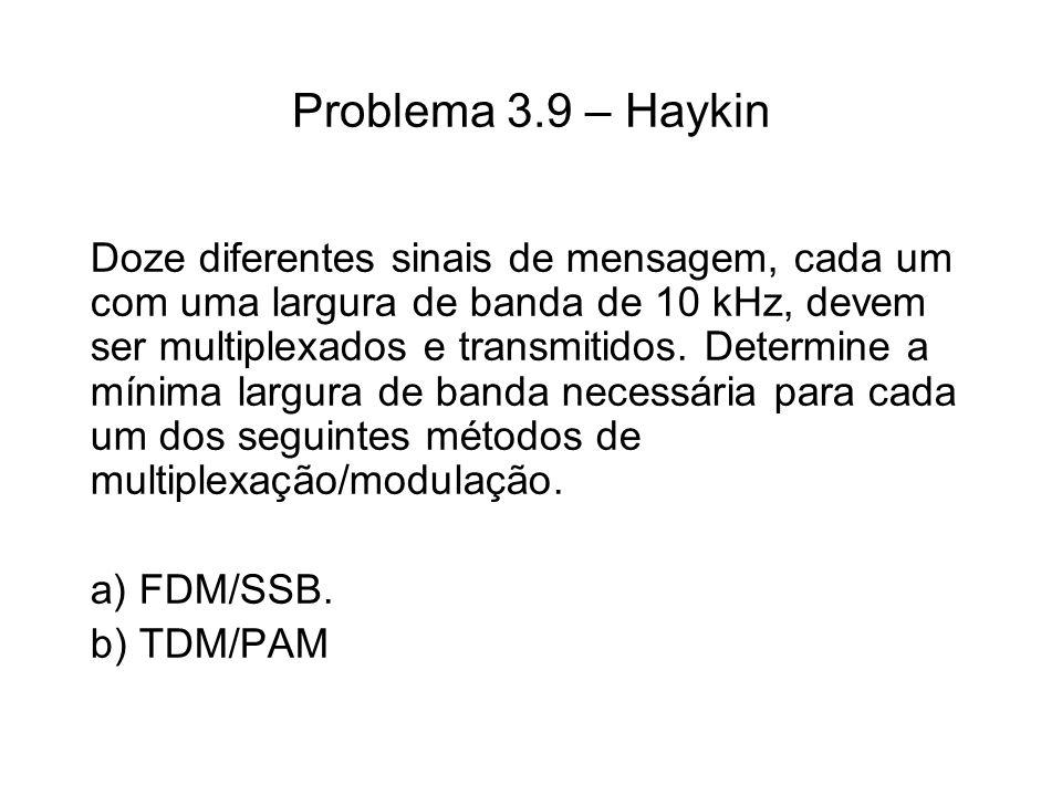 Problema 3.9 – Haykin Doze diferentes sinais de mensagem, cada um com uma largura de banda de 10 kHz, devem ser multiplexados e transmitidos. Determin