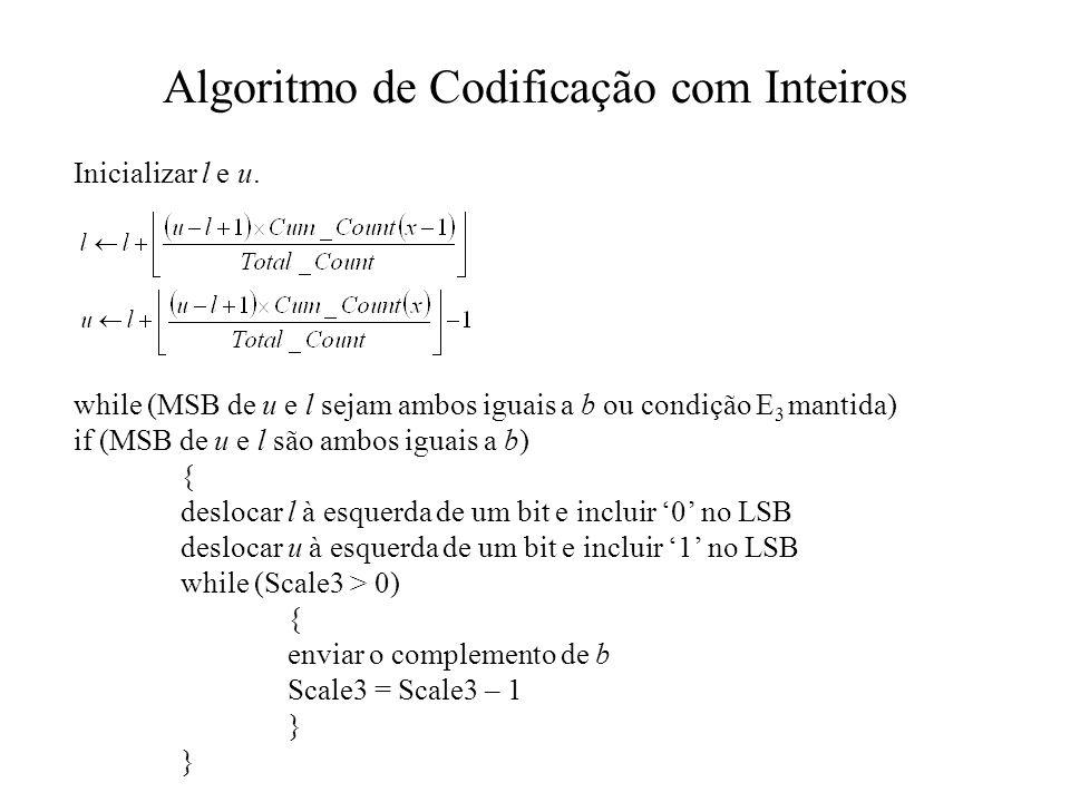 Algoritmo de Codificação com Inteiros Inicializar l e u.