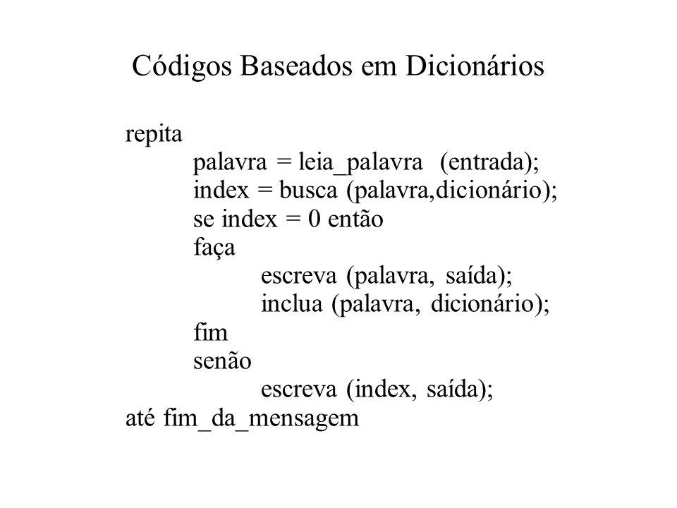 Códigos Baseados em Dicionários repita palavra = leia_palavra (entrada); index = busca (palavra,dicionário); se index = 0 então faça escreva (palavra, saída); inclua (palavra, dicionário); fim senão escreva (index, saída); até fim_da_mensagem