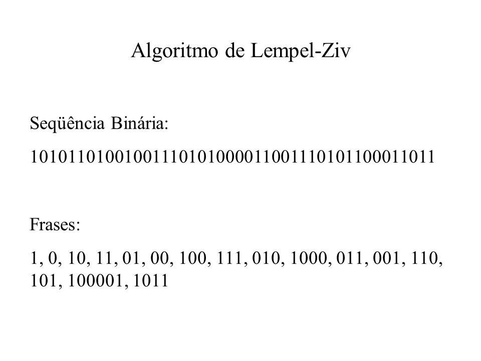 Seqüência Binária: 10101101001001110101000011001110101100011011 Frases: 1, 0, 10, 11, 01, 00, 100, 111, 010, 1000, 011, 001, 110, 101, 100001, 1011 Algoritmo de Lempel-Ziv