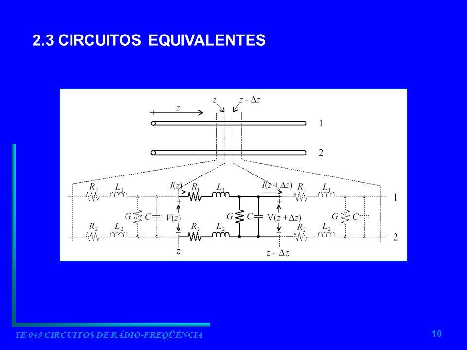 10 TE 043 CIRCUITOS DE RÁDIO-FREQÜÊNCIA 2.3 CIRCUITOS EQUIVALENTES