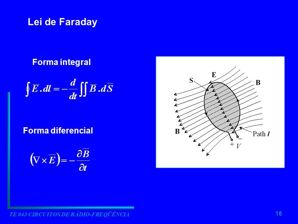 16 TE 043 CIRCUITOS DE RÁDIO-FREQÜÊNCIA Lei de Faraday Forma integral Forma diferencial