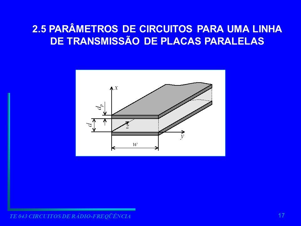 17 TE 043 CIRCUITOS DE RÁDIO-FREQÜÊNCIA 2.5 PARÂMETROS DE CIRCUITOS PARA UMA LINHA DE TRANSMISSÃO DE PLACAS PARALELAS