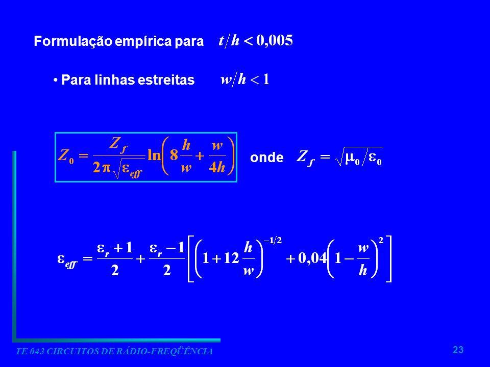 23 TE 043 CIRCUITOS DE RÁDIO-FREQÜÊNCIA Formulação empírica para Para linhas estreitas onde