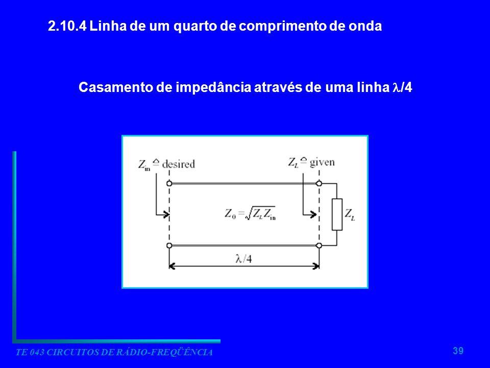39 TE 043 CIRCUITOS DE RÁDIO-FREQÜÊNCIA 2.10.4 Linha de um quarto de comprimento de onda Casamento de impedância através de uma linha /4