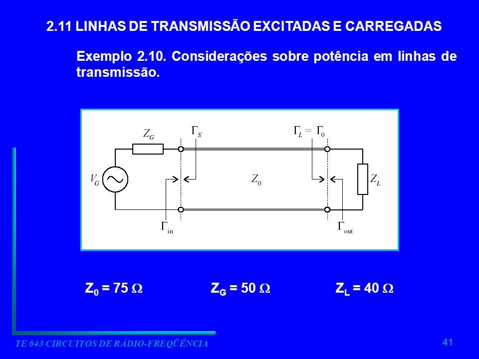 41 TE 043 CIRCUITOS DE RÁDIO-FREQÜÊNCIA 2.11 LINHAS DE TRANSMISSÃO EXCITADAS E CARREGADAS Exemplo 2.10. Considerações sobre potência em linhas de tran