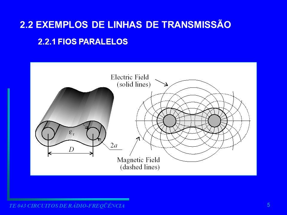 5 TE 043 CIRCUITOS DE RÁDIO-FREQÜÊNCIA 2.2 EXEMPLOS DE LINHAS DE TRANSMISSÃO 2.2.1 FIOS PARALELOS
