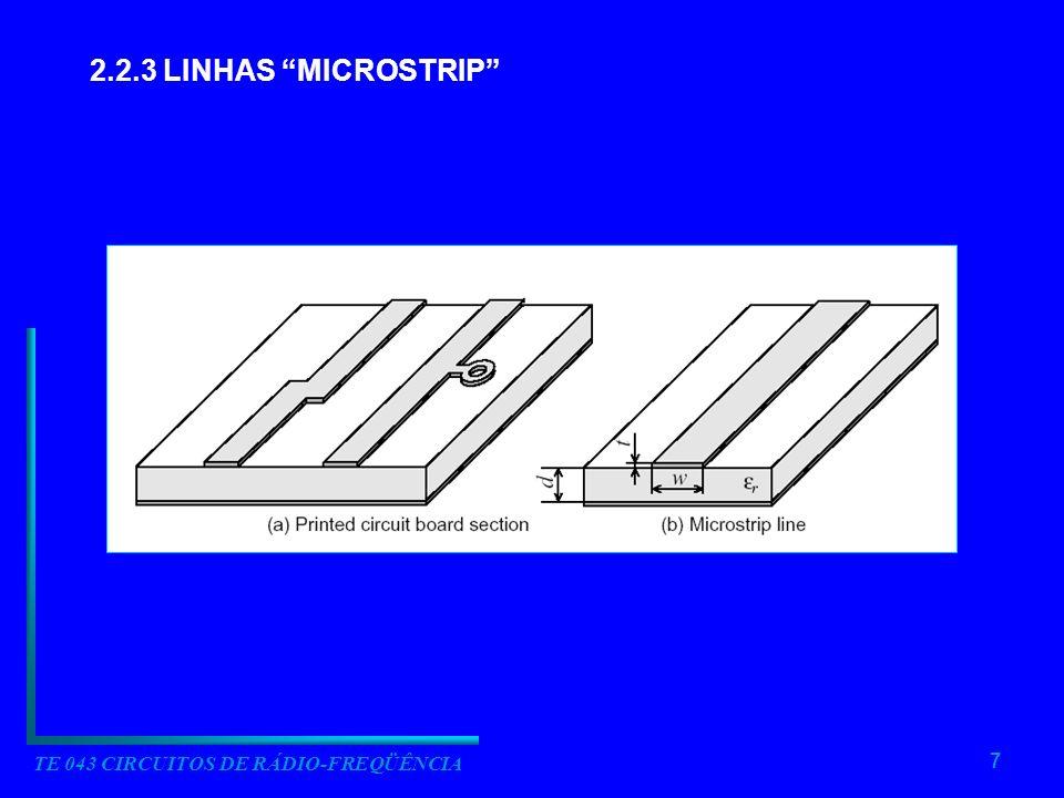 7 TE 043 CIRCUITOS DE RÁDIO-FREQÜÊNCIA 2.2.3 LINHAS MICROSTRIP
