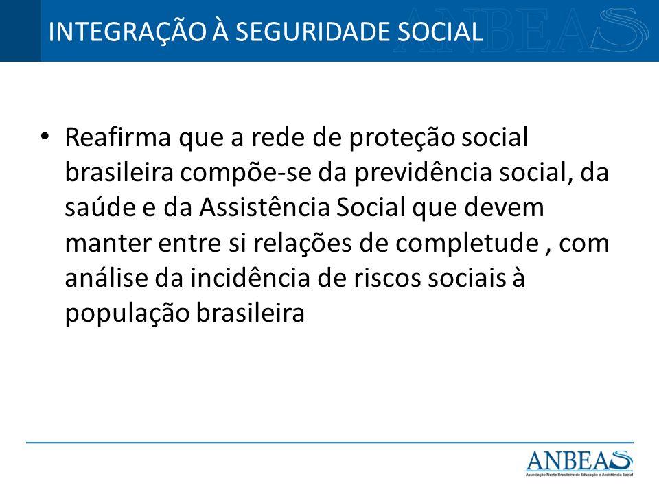Reafirma que a rede de proteção social brasileira compõe-se da previdência social, da saúde e da Assistência Social que devem manter entre si relações