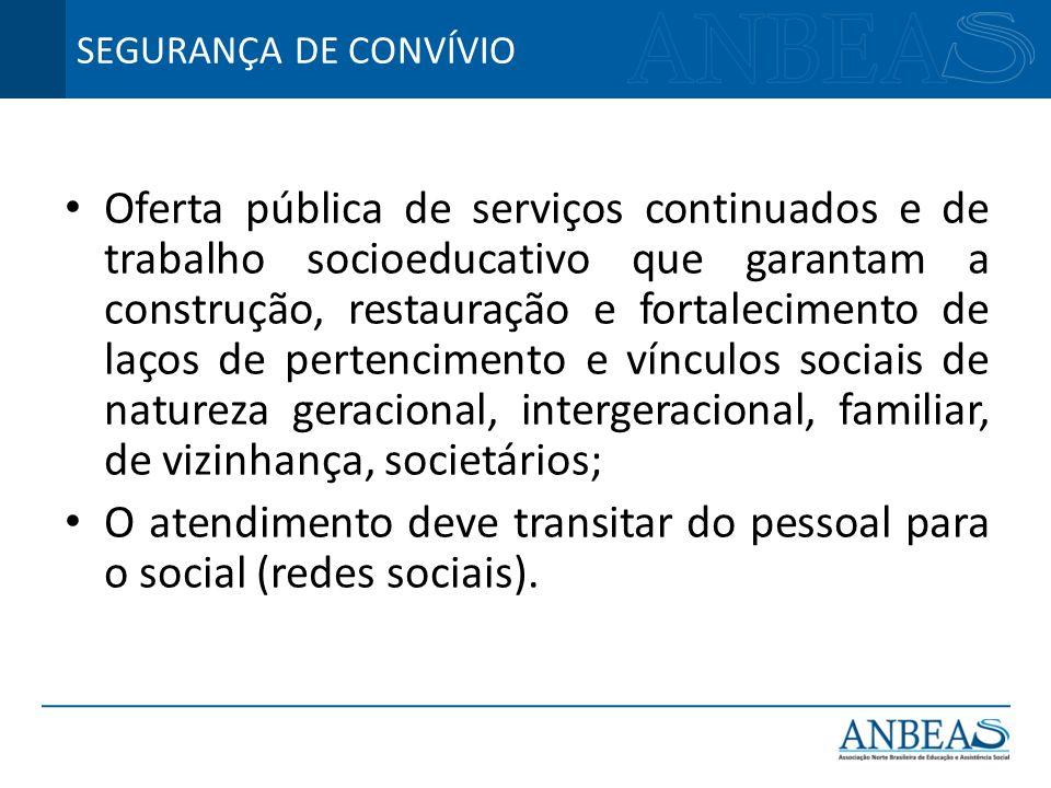 Oferta pública de serviços continuados e de trabalho socioeducativo que garantam a construção, restauração e fortalecimento de laços de pertencimento