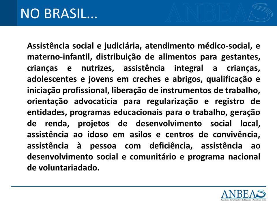 Assistência social e judiciária, atendimento médico-social, e materno-infantil, distribuição de alimentos para gestantes, crianças e nutrizes, assistê