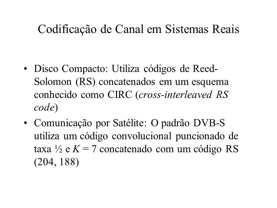 Codificação de Canal em Sistemas Reais Sistemas COFDM (DVB-T, 802.11a): Utilizam códigos convolucionais concatenados com códigos RS em esquemas similares aos utilizados em comunicação por satélite.