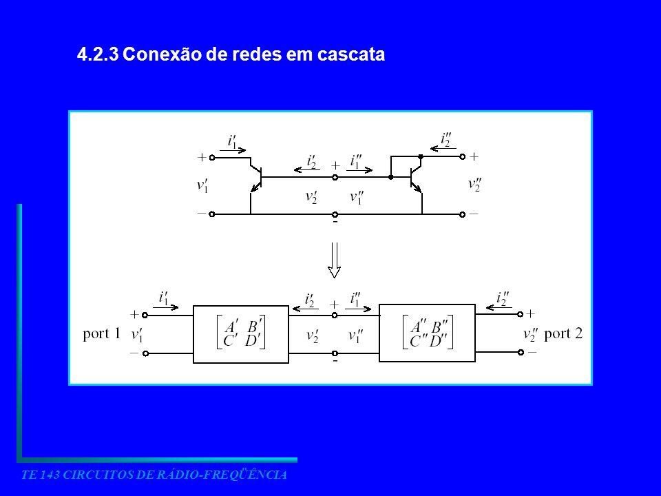 TE 143 CIRCUITOS DE RÁDIO-FREQÜÊNCIA 4.2.3 Conexão de redes em cascata