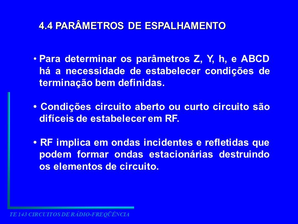 4.4 PARÂMETROS DE ESPALHAMENTO Para determinar os parâmetros Z, Y, h, e ABCD há a necessidade de estabelecer condições de terminação bem definidas. Co