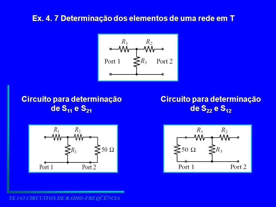 TE 143 CIRCUITOS DE RÁDIO-FREQÜÊNCIA Ex. 4. 7 Determinação dos elementos de uma rede em T Circuito para determinação de S 11 e S 21 Circuito para dete
