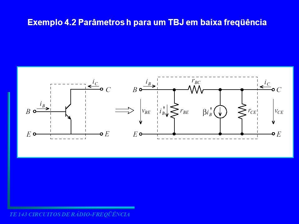 TE 143 CIRCUITOS DE RÁDIO-FREQÜÊNCIA Exemplo 4.2 Parâmetros h para um TBJ em baixa freqüência