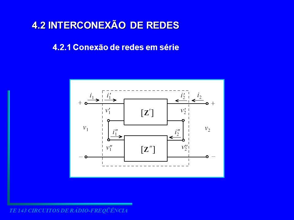 TE 143 CIRCUITOS DE RÁDIO-FREQÜÊNCIA 4.2 INTERCONEXÃO DE REDES 4.2.1 Conexão de redes em série