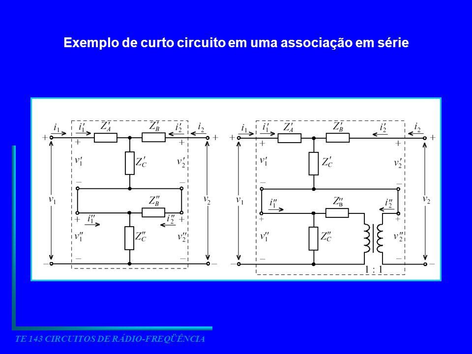 TE 143 CIRCUITOS DE RÁDIO-FREQÜÊNCIA Quando duas redes são conectadas com as saídas trocadas a representação híbrida é mais conveniente.
