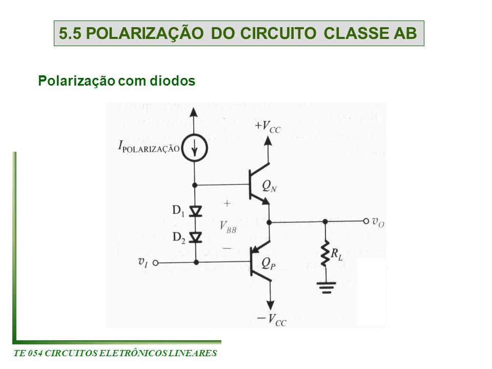 TE 054 CIRCUITOS ELETRÔNICOS LINEARES 5.5 POLARIZAÇÃO DO CIRCUITO CLASSE AB Polarização com diodos