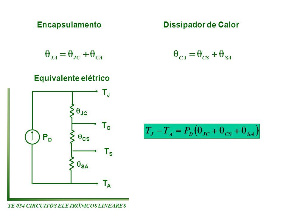 TE 054 CIRCUITOS ELETRÔNICOS LINEARES Encapsulamento Dissipador de Calor PDPD JC TATA TJTJ Equivalente elétrico TCTC TSTS CS SA