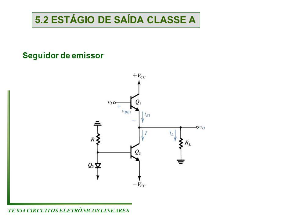 TE 054 CIRCUITOS ELETRÔNICOS LINEARES 5.2 ESTÁGIO DE SAÍDA CLASSE A Seguidor de emissor