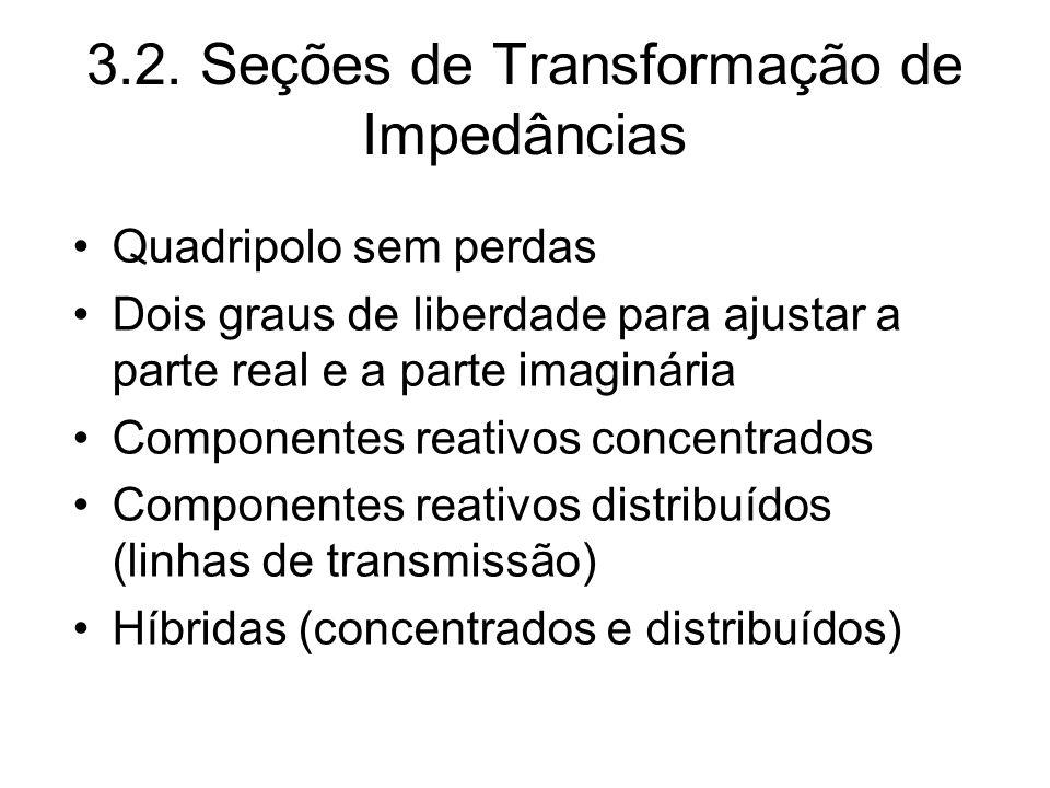 3.2. Seções de Transformação de Impedâncias Quadripolo sem perdas Dois graus de liberdade para ajustar a parte real e a parte imaginária Componentes r