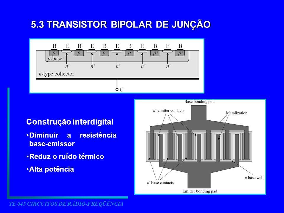 TE 043 CIRCUITOS DE RÁDIO-FREQÜÊNCIA 5.3 TRANSISTOR BIPOLAR DE JUNÇÃO Construção interdigital Diminuir a resistência base-emissor Reduz o ruído térmic