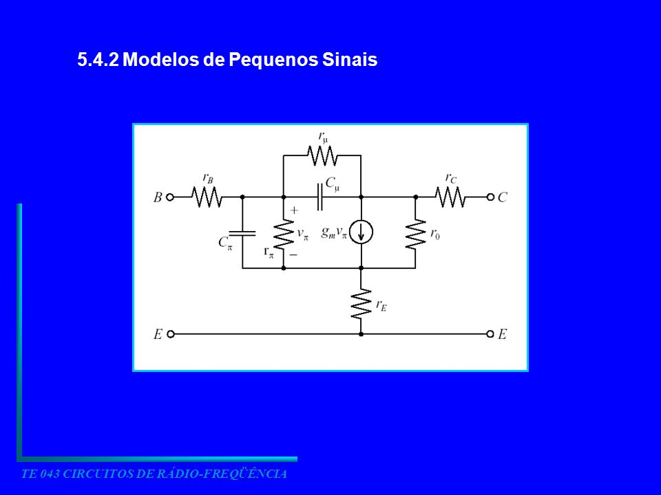 TE 043 CIRCUITOS DE RÁDIO-FREQÜÊNCIA 5.4.2 Modelos de Pequenos Sinais