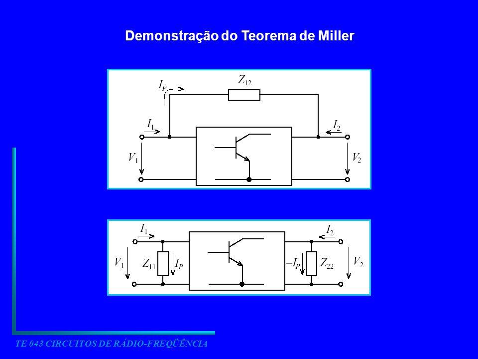 TE 043 CIRCUITOS DE RÁDIO-FREQÜÊNCIA Demonstração do Teorema de Miller