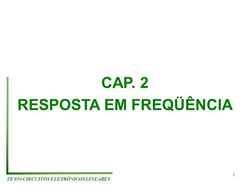 TE 054 CIRCUITOS ELETRÔNICOS LINEARES 1 CAP. 2 RESPOSTA EM FREQÜÊNCIA