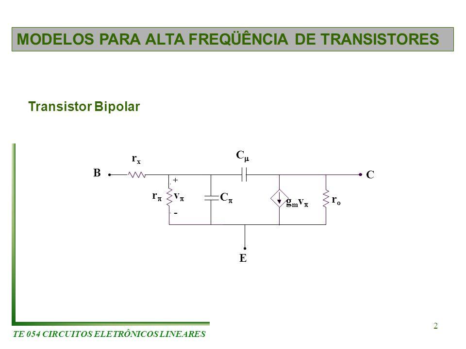 TE 054 CIRCUITOS ELETRÔNICOS LINEARES 2 MODELOS PARA ALTA FREQÜÊNCIA DE TRANSISTORES Transistor Bipolar g m v roro r v + - rxrx C C C E B