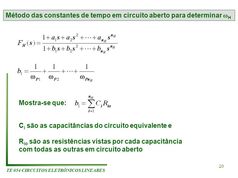 TE 054 CIRCUITOS ELETRÔNICOS LINEARES 20 Método das constantes de tempo em circuito aberto para determinar H Mostra-se que: C i são as capacitâncias d