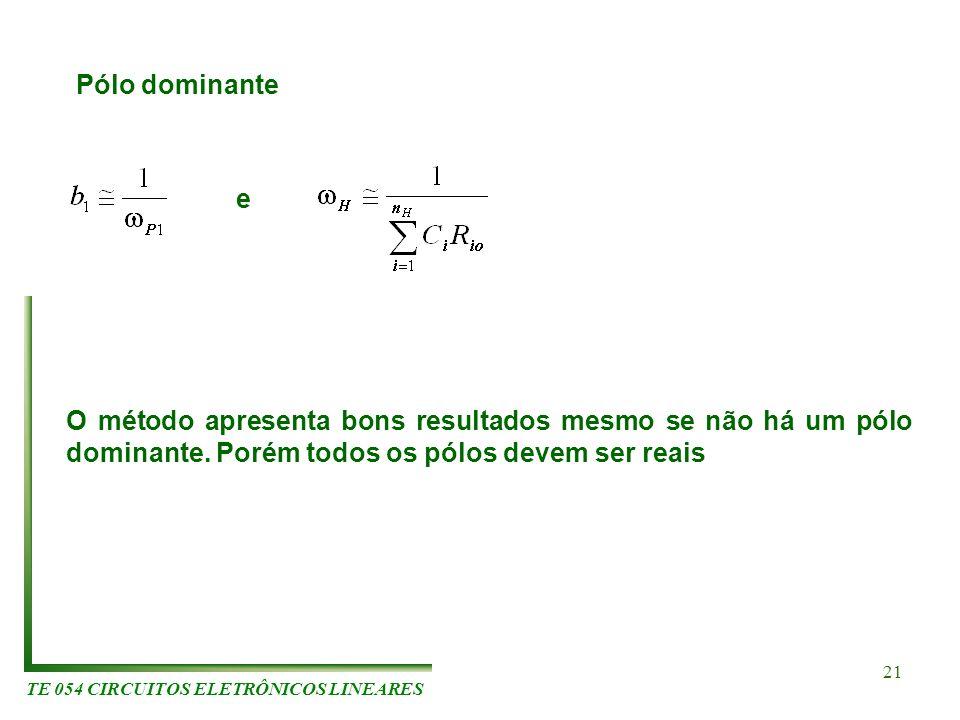 TE 054 CIRCUITOS ELETRÔNICOS LINEARES 21 Pólo dominante e O método apresenta bons resultados mesmo se não há um pólo dominante. Porém todos os pólos d