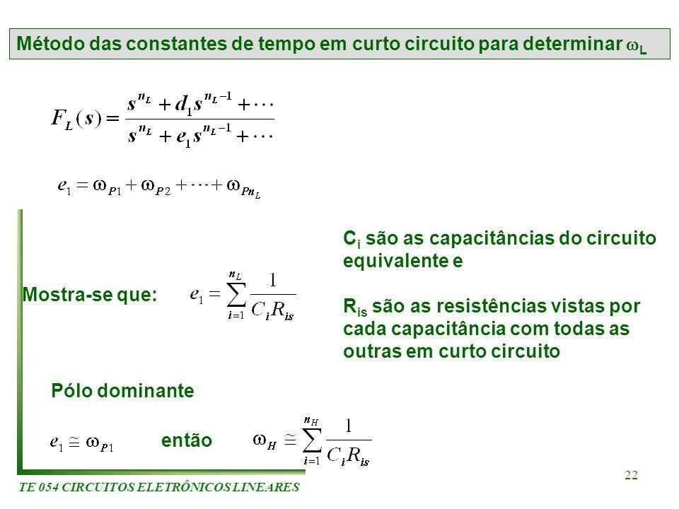 TE 054 CIRCUITOS ELETRÔNICOS LINEARES 22 Método das constantes de tempo em curto circuito para determinar L Mostra-se que: C i são as capacitâncias do