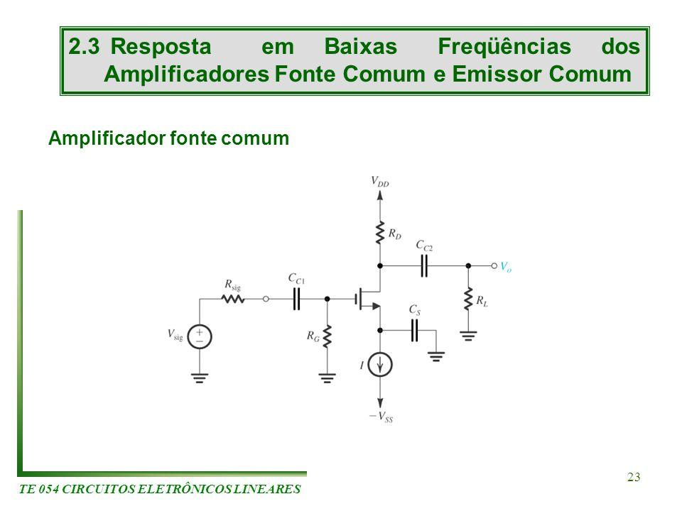 TE 054 CIRCUITOS ELETRÔNICOS LINEARES 23 2.3 Resposta em Baixas Freqüências dos Amplificadores Fonte Comum e Emissor Comum Amplificador fonte comum