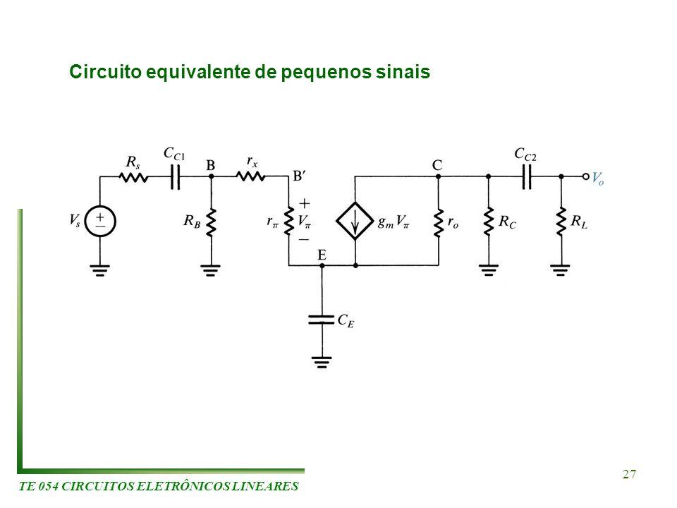 TE 054 CIRCUITOS ELETRÔNICOS LINEARES 27 Circuito equivalente de pequenos sinais