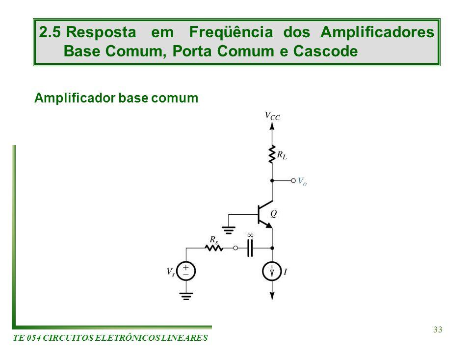 TE 054 CIRCUITOS ELETRÔNICOS LINEARES 33 2.5 Resposta em Freqüência dos Amplificadores Base Comum, Porta Comum e Cascode Amplificador base comum