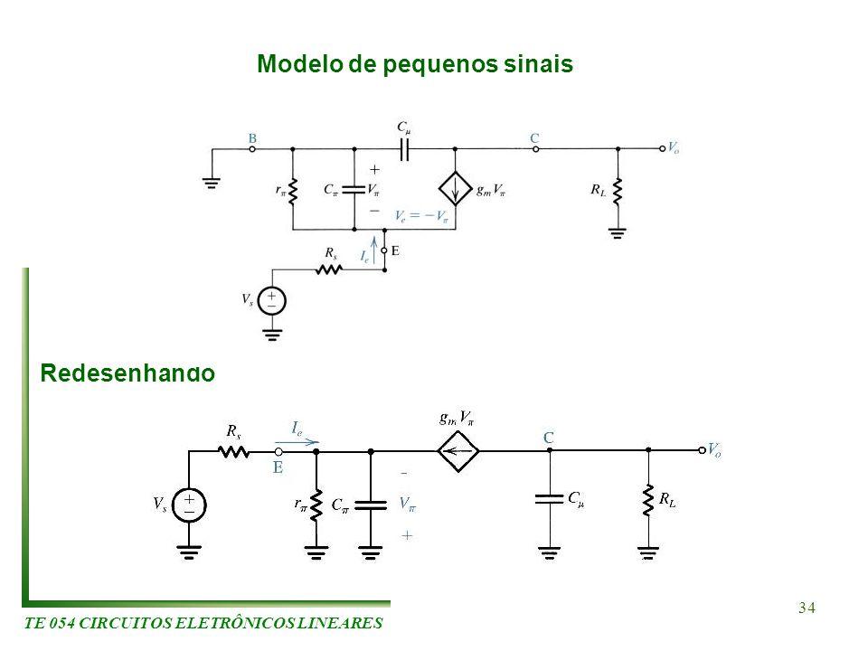 TE 054 CIRCUITOS ELETRÔNICOS LINEARES 34 Modelo de pequenos sinais Redesenhando