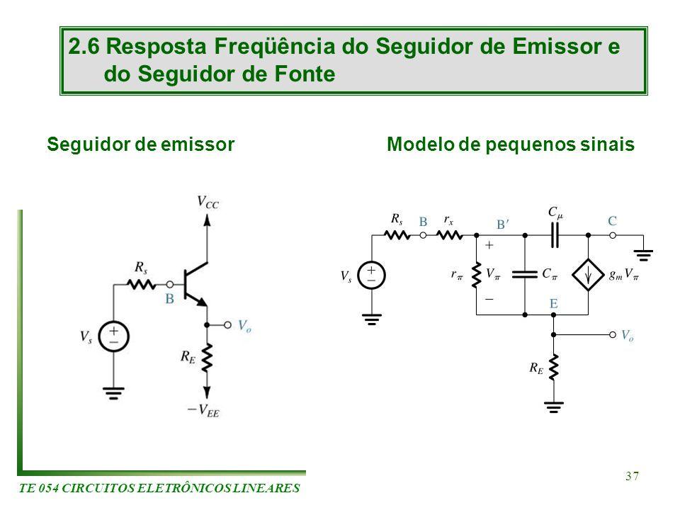 TE 054 CIRCUITOS ELETRÔNICOS LINEARES 37 2.6 Resposta Freqüência do Seguidor de Emissor e do Seguidor de Fonte Seguidor de emissorModelo de pequenos s
