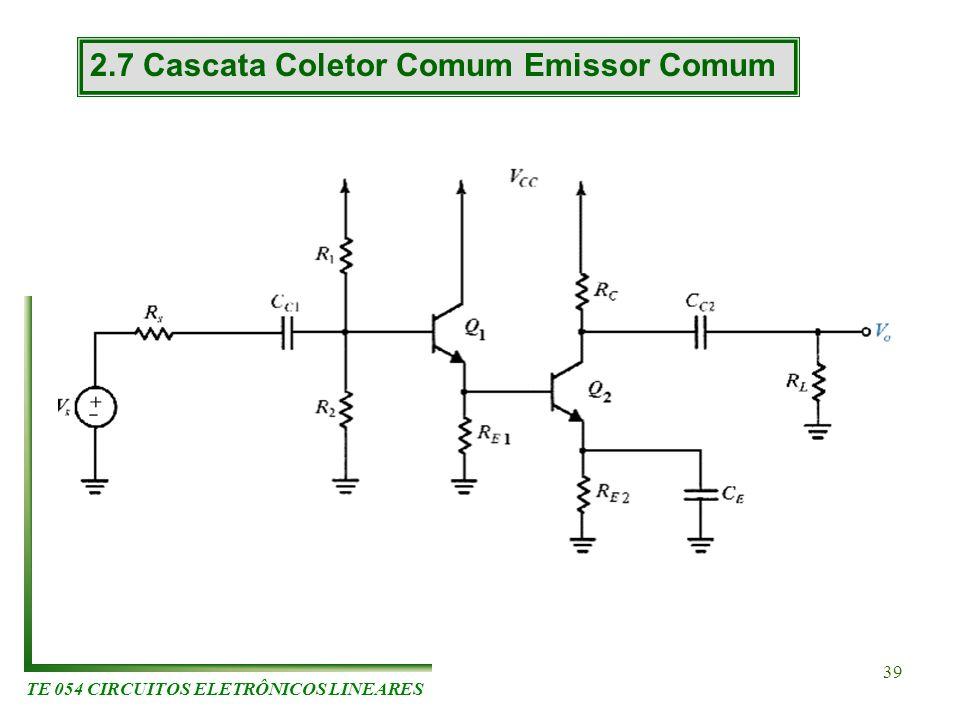 TE 054 CIRCUITOS ELETRÔNICOS LINEARES 39 2.7 Cascata Coletor Comum Emissor Comum